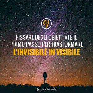 fissare degli obiettivi è il primo passo per trasformare l'invisibile in visibile citazione Anthony Robbins