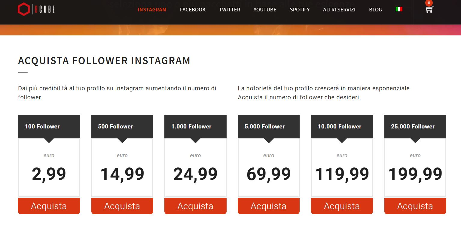 comprare follower instagram bcube