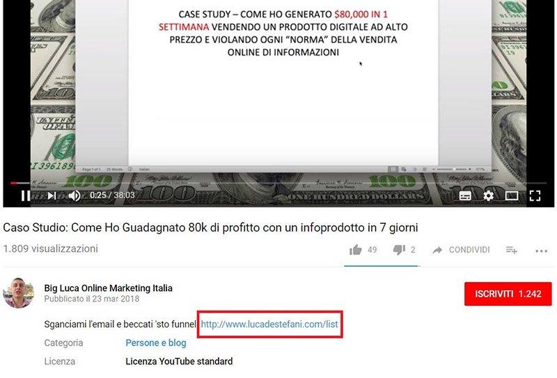 vendere un infoprodotto youtube