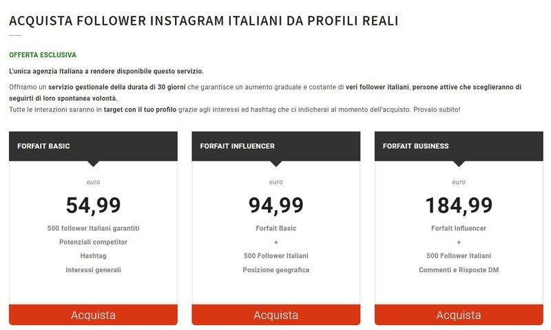 comprare follower instagram reali italiani