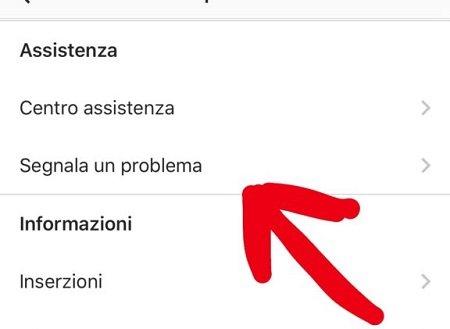 segnala un problema instagram