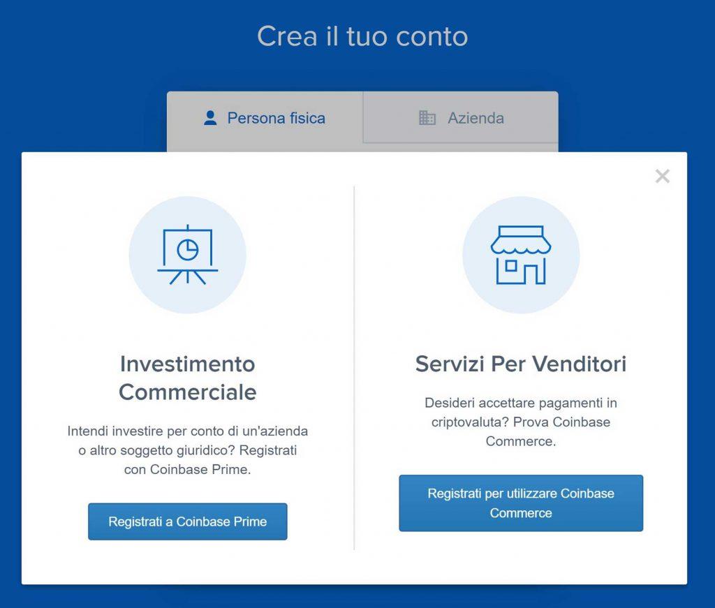 creazione conto azienda coinbase