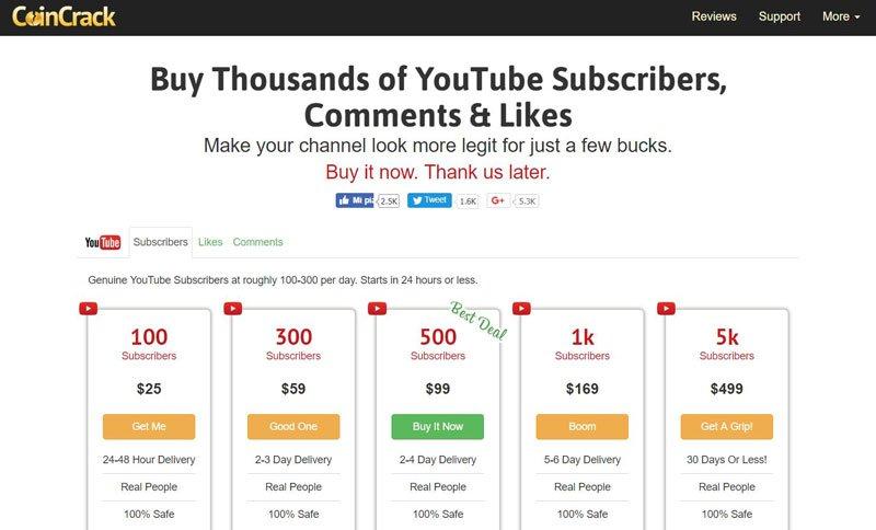 comprare iscritti youtube coincrack