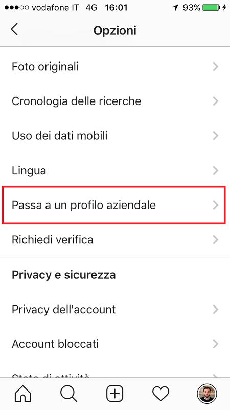 come fare il profilo aziendale su instagram