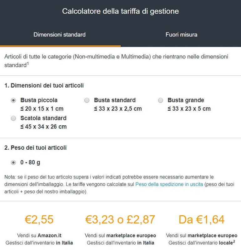 amazon fba costi standard