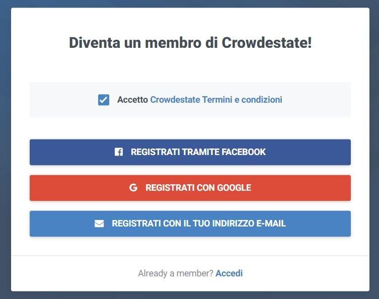 crowdestate registrazione