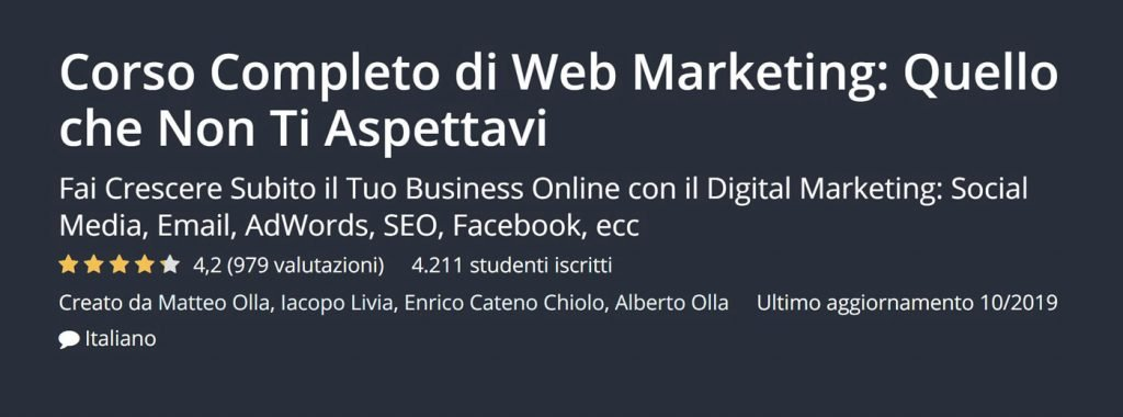 corsi web marketing